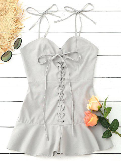 Volantes Smocked Volver Lace Up Romper - Gris Claro XL Mobile