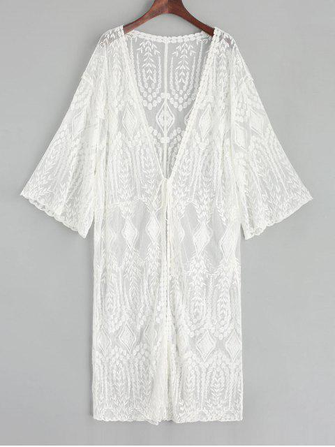 women Sheer Tie Front Leaf Embroidered Kimono Cover Up - WHITE ONE SIZE Mobile