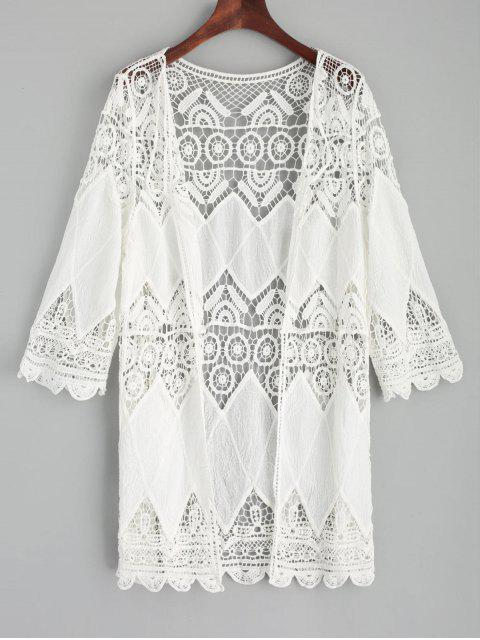 women's Crochet Kimono Cover Up - WHITE ONE SIZE Mobile