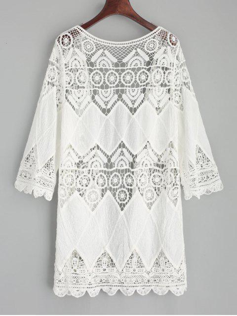 women's Crochet Kimono Cover Up - WHITE ONE SIZE Mobile