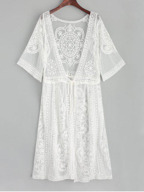 Kimono de Plage en Tulle Brodée et Attaches sur le Devant - Blanc Taille Unique Mobile