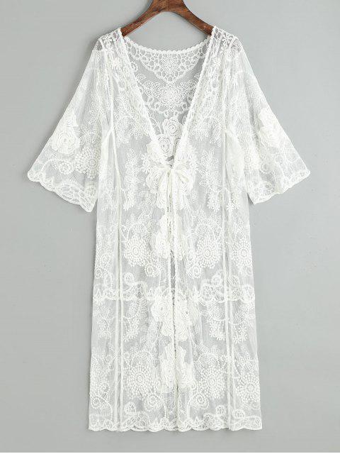 unique Sheer Tulle Tie Front Beach Kimono - WHITE ONE SIZE Mobile