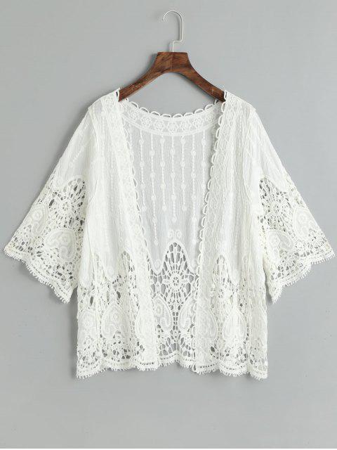 Crochet Cover Up Top - Blanco Talla única Mobile