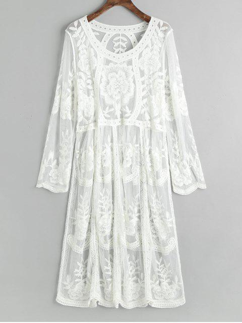 ladies Embroidered Sheer Tulle Cover Up Dress - WHITE ONE SIZE Mobile