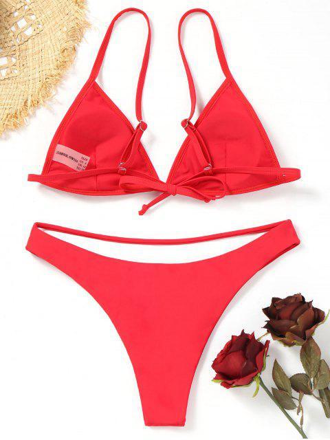 Traje de baño de bikini cortado de Bikini - Rojo M Mobile