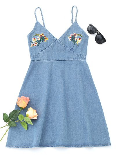 Denim Floral Embroidered Pinafore Mini Dress - Azul Claro L