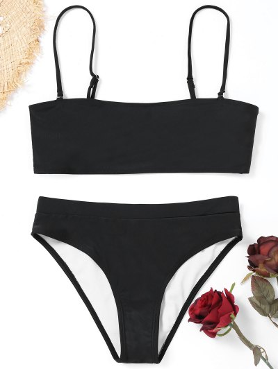 Cami Padded High Cut Bikini Swimwear - Black S
