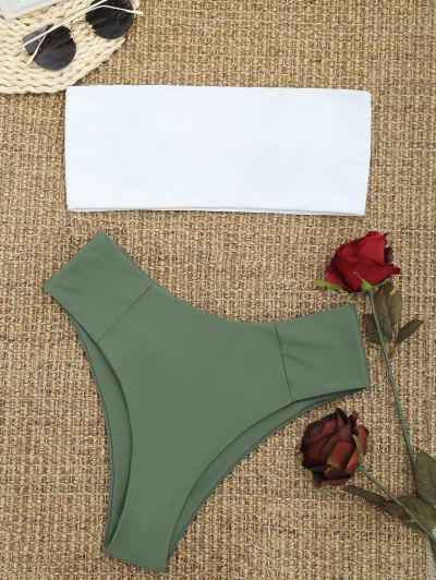 High Cut Two Tone Bandeau Bikini Set - Army Green S