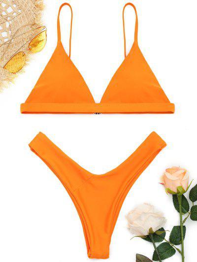 Soft Pad Spaghetti Straps Thong Bikini Set - Orange M