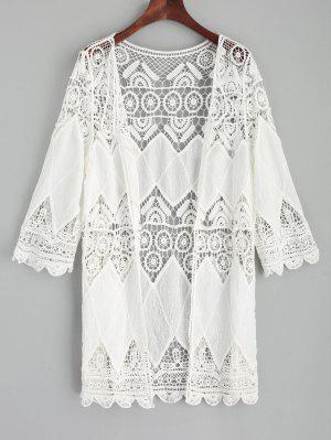 Crochet Kimono Cover Up - White