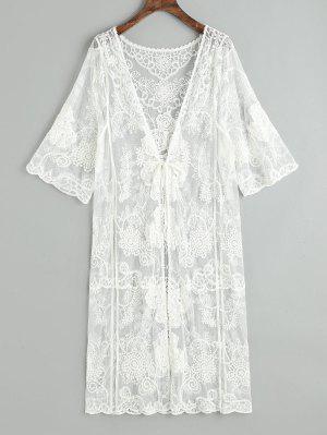 Sheer Tulle Tie Front Kimono de playa
