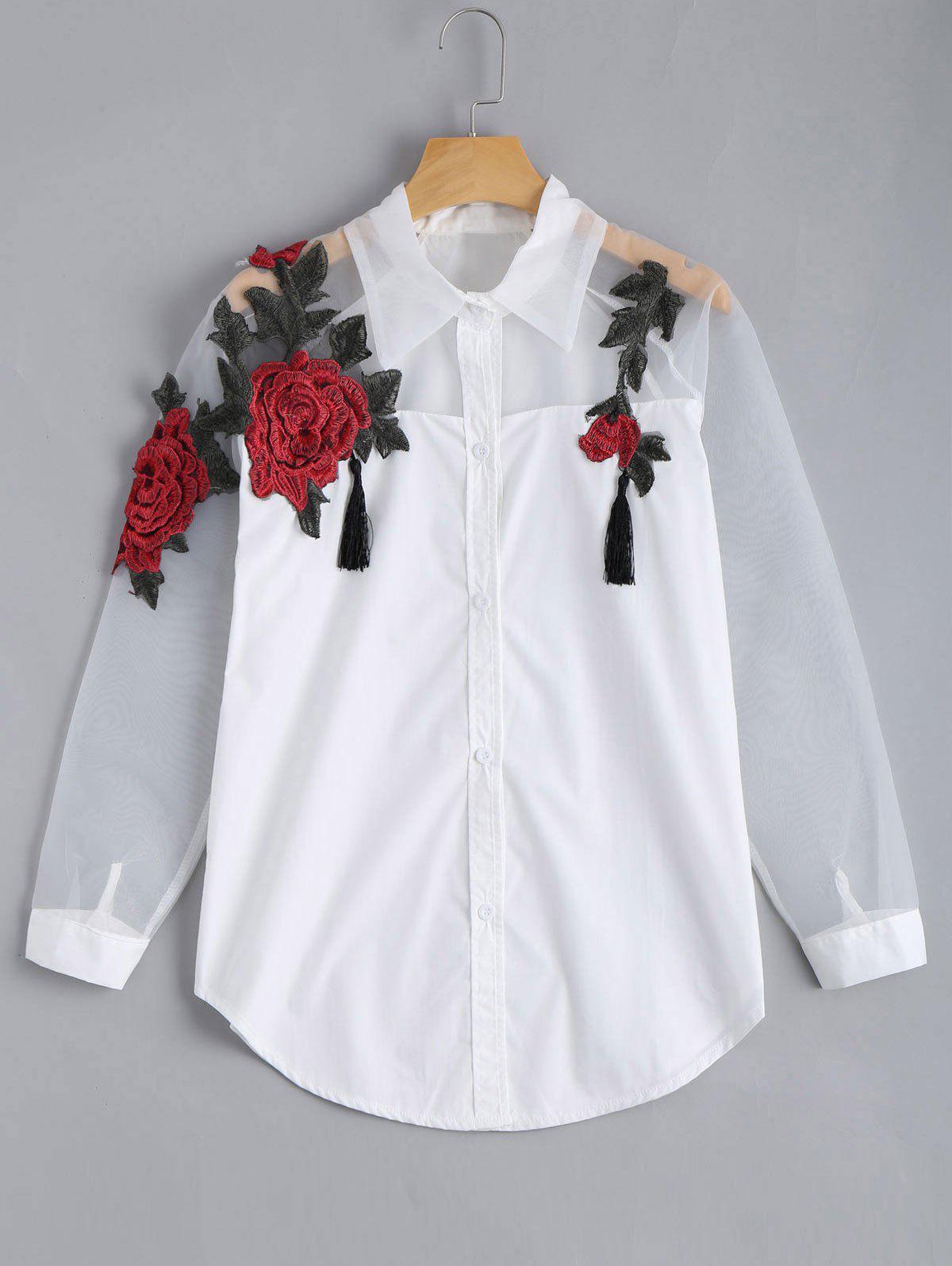Gestickte Rose Applique Organza Stoff BF Bluse