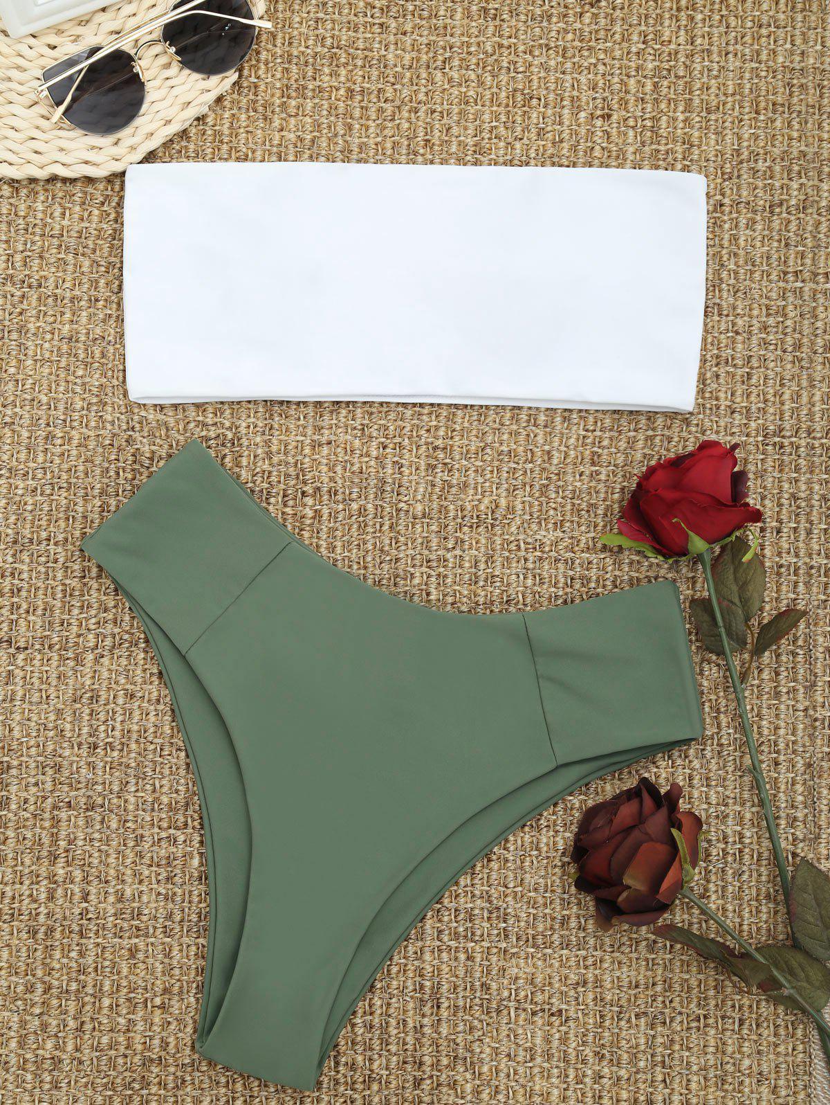 High Cut Two Tone Bandeau Bikini Set