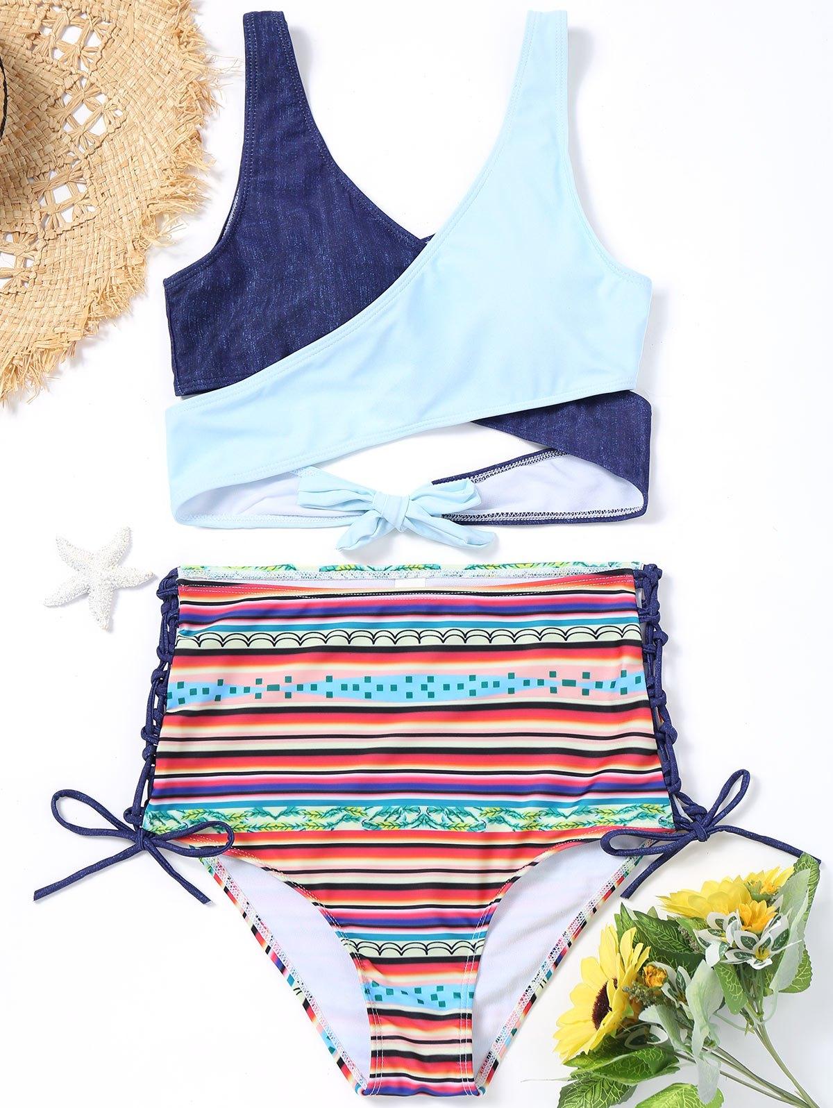 Wrap Bikini Top with Printed High Waisted Bottoms 244881601
