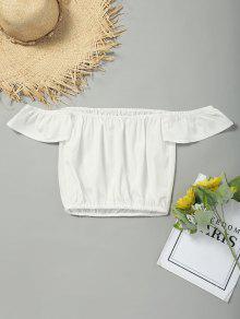 Plain Aus Der Schulter Abgeschnitten Bluse - Weiß S