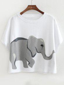 تيشيرت قطني واسع مزين بطبعة فيل - أبيض