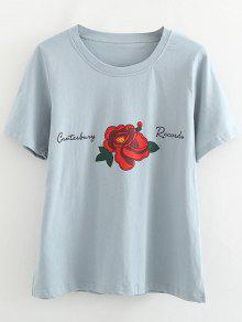 Baumwolle Rose Side Slit T-Shirt - Hellblau