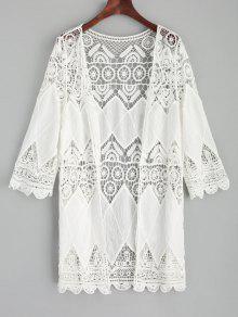 الكروشيه الكيمونو تغطى - أبيض