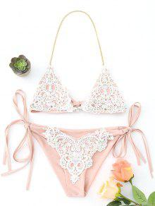 Bralette Crochet Panel Rhinestone String Bikini - Pinkbeige S