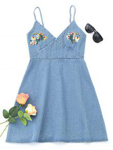 Denim Floral Embroidered Pinafore Mini Dress - Azul Claro M