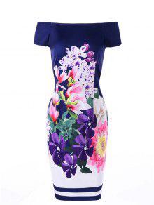 Off The Shoulder Flower Print Vestido Bodycon - Xl