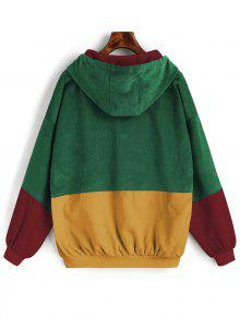 50 Off Hot 2019 Hooded Color Block Corduroy Jacket In