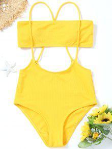 Bandeau Top Und Hoch Taillierte Slip Bikini Bottoms - Gelb S