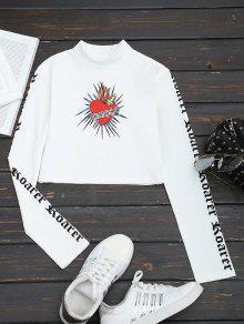 T-shirt Da Colheita Da Cópia Floral Do Pescoço Alto - Branco M