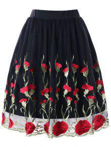 Saia Bordada Floral De Tamanho Plus - Preto 5xl