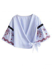 Wrap Blusa Listrada Bordada - Listras