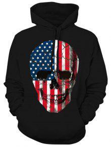 العلم الأمريكي الجمجمة طباعة هوديي مع الرباط - أسود Xl