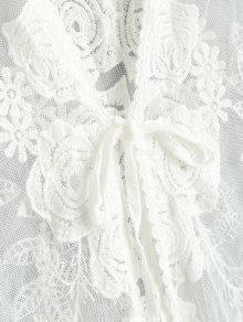 4ed1b4b05d9d 17% OFF] 2019 Sheer Tulle Tie Front Beach Kimono In WHITE   ZAFUL