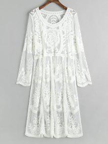 Embroidered Sheer Tulle Cover Up Dress