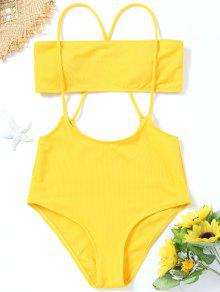 45474f91c5 42% OFF  2019 Bandeau Top And High Waisted Slip Bikini Bottoms In ...