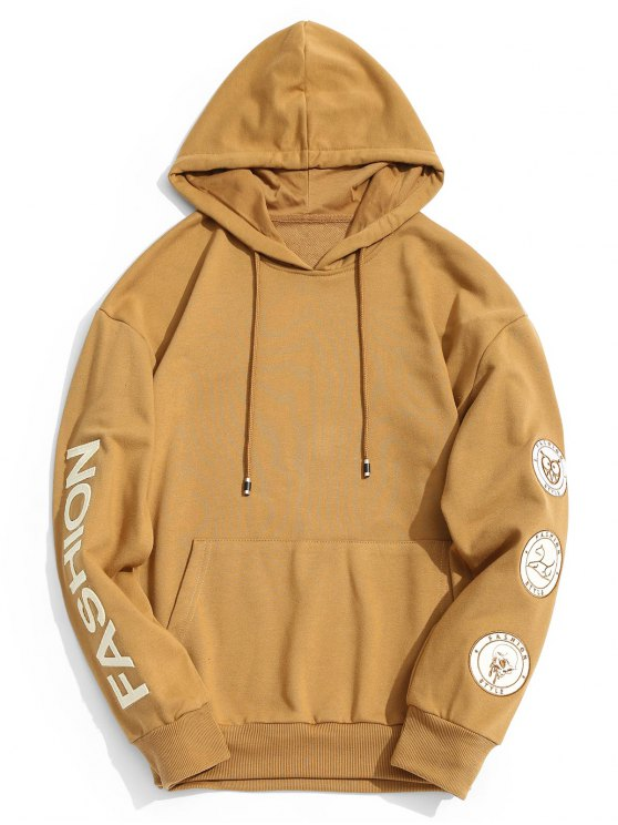 a57ab3748 38% OFF] 2019 Patch Fashion Graphic Hoodie In KHAKI | ZAFUL
