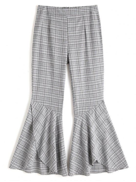 trendy Plaid Tiered Hem Flare Pants - CHECKED XL