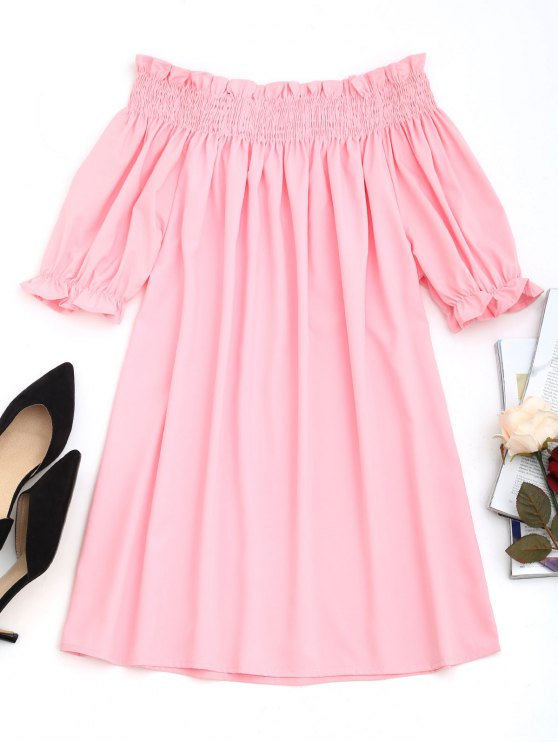 best Smocked Panel Off Shoulder Mini Dress - PINK L