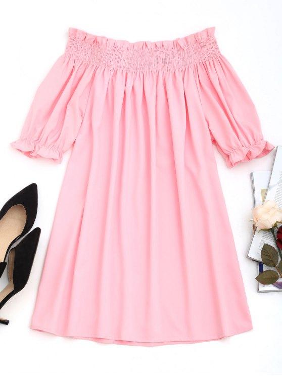 فستان مصغر بلا اكتاف سموكيد - زهري XL