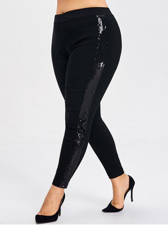 02afe26ba0d 30% OFF  2019 High Waisted Plus Size Sequins Pencil Pants In BLACK ...