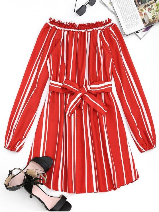 Belted Stripes Schulterfrei Minikleid - Roter Zirkon M