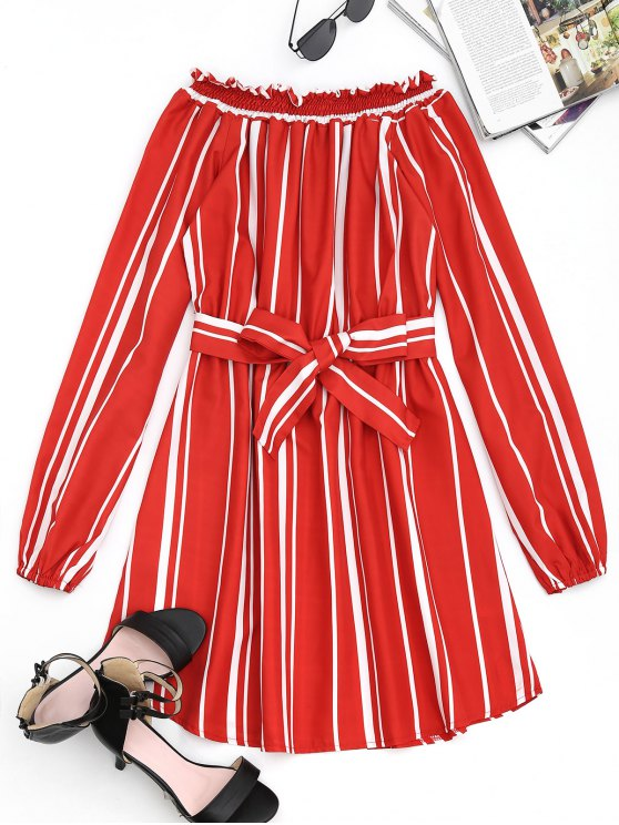 sale Belted Stripes Off Shoulder Mini Dress - JACINTH L