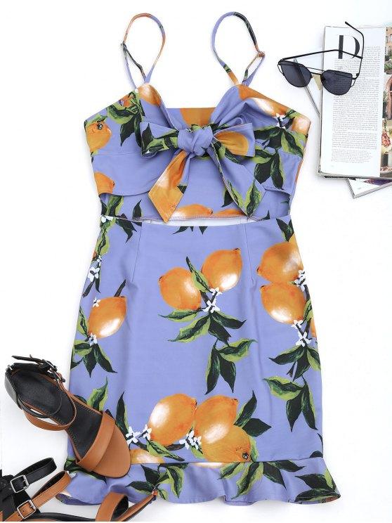 affordable Bow Tied Lemon Cut Out Mini Dress - PURPLE M