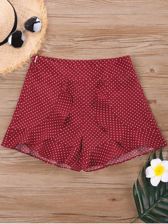Hohe Taille Polka Punkt Shorts - Rot L