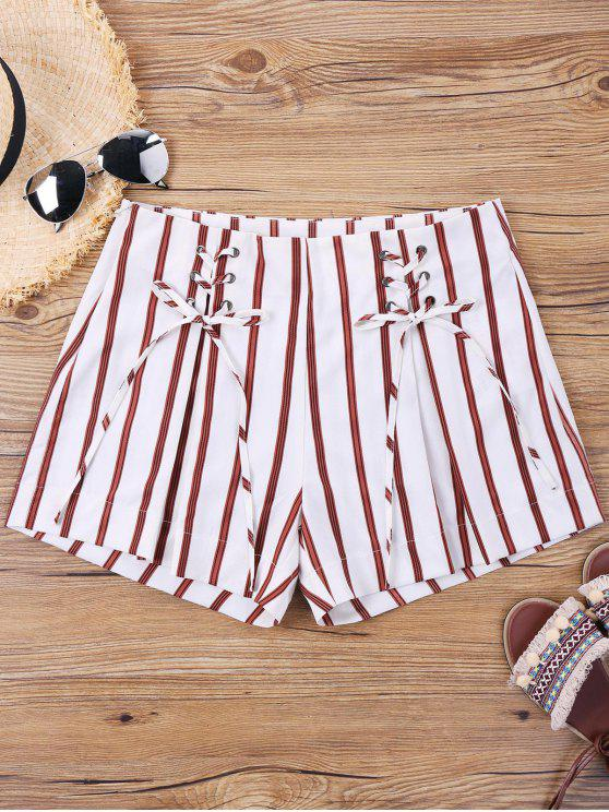 chic Striped Lace Up Shorts - RED STRIPE XL