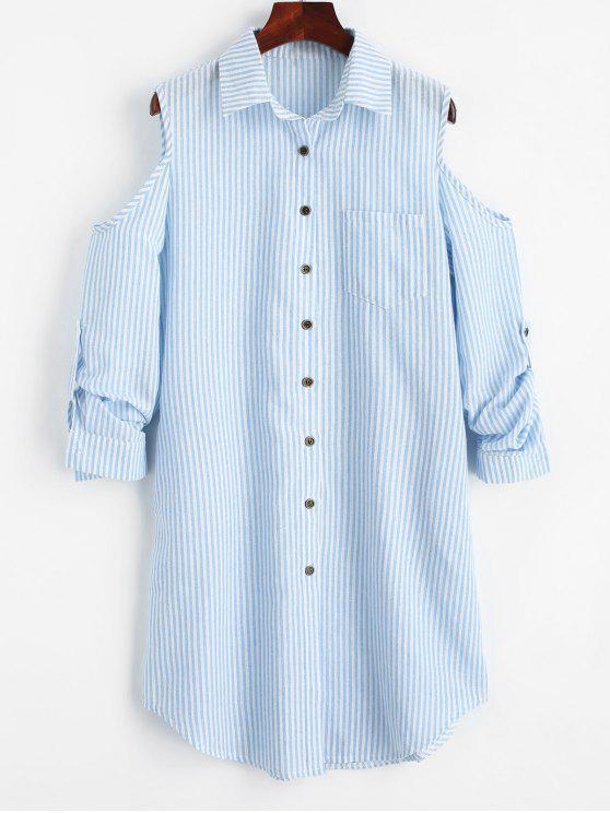 chic Cold Shoulder Striped Pocket Shirt Dress - CHARM S