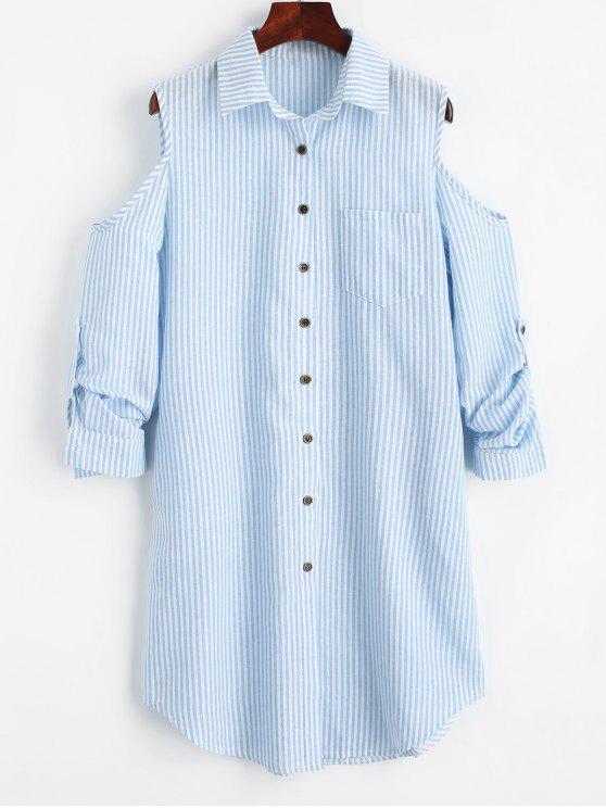fancy Cold Shoulder Striped Pocket Shirt Dress - CHARM M