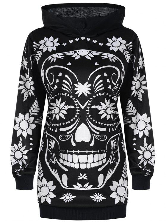 030df1f9a46 31% OFF] 2019 Plus Size Floral Skull Tunic Hoodie In BLACK | ZAFUL
