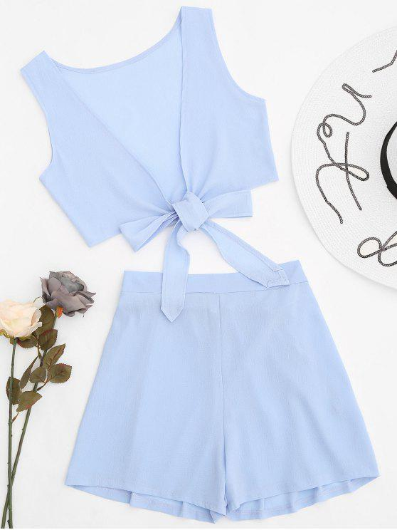 online Tied Front Crop Top and Shorts Set - CLOUDY L