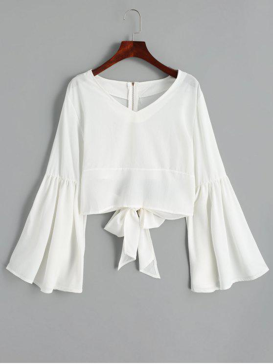 lady Back Zippered Bowknot Flare Sleeve Blouse - WHITE M