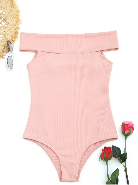 fashion Ribbed Off Shoulder One Piece Swimwear - SHALLOW PINK M
